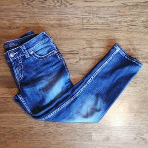 Silver Suki Capri Jeans Mid-Rise Distressed 27